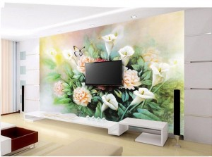 Free-shipping-Modern-wall-3d-murals-wallpaper-Lily-peony-flower-painting-3d-mural-for-Tv-sofa